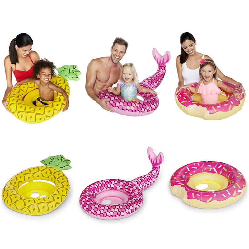 Baby Floating Water Mat Donuts Water Game Toys Mermaid Pineapple Pool Float Mat Summer Pool Beach Party Toys For Kids