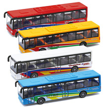 Four Colors Random Delivery 1:76 Alloy Bus Alloy Model Toys Car 15CM Pull-back bus Vehicle Mini Cars Gift Children Toys 6pcs set pull back car toys mobile machinery shop construction vehicle cartoon lovely model baby mini cars gift children toys