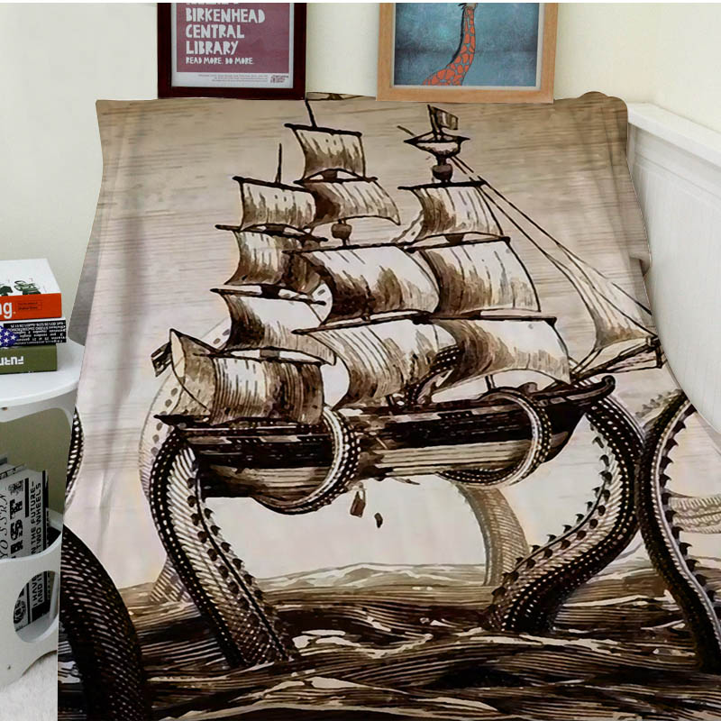 Blankets Comfort Warmth Soft Cozy Air conditioning Easy Care Machine Wash Modern Art Painting Octopus Pirate