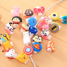 Wholesale 100pcs/lot Fashion Cute Cartoon Cable Winder for Earphones Protector Cover Case For Apple Iphone Charger Data Cable