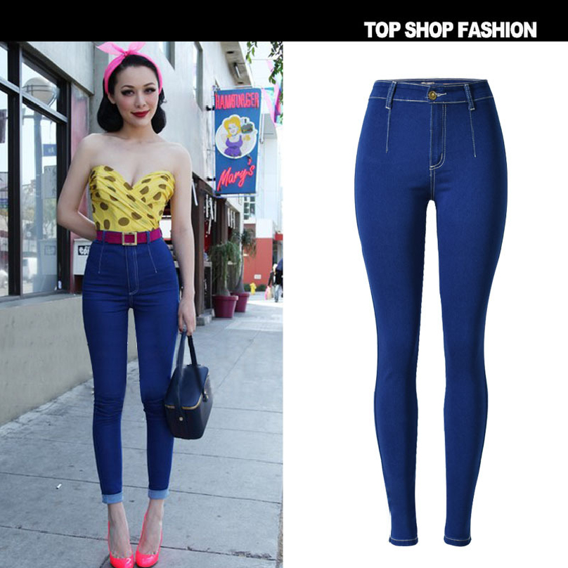 Women Ladies High Waist Skinny Jeans Woman Stretchy Dark Blue Button Fly Denim Skinny Pants Jean Trousers Femme Mujer Bottoms Jeans