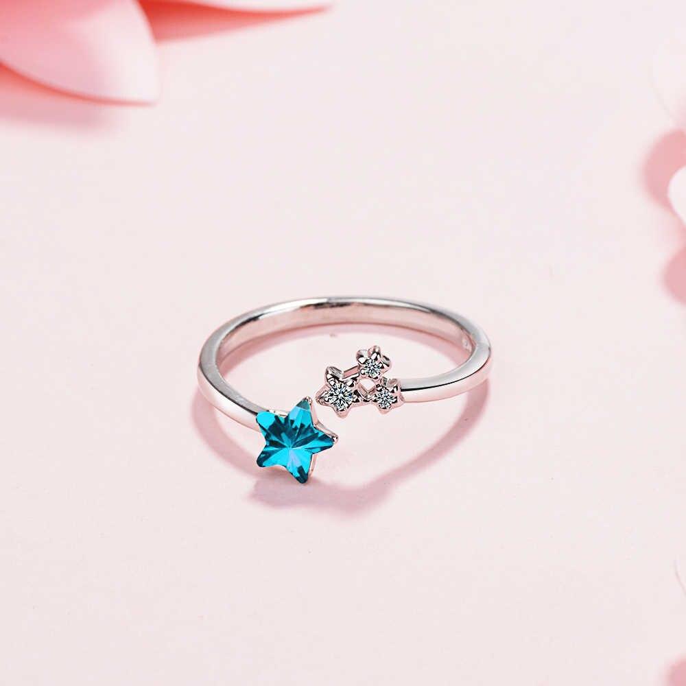 925 Стерлинговое Серебро Открытое кольцо синий циркон ювелирные изделия простые женские серебряные ювелирные изделия счастливое кольцо Романтические свадебные украшения