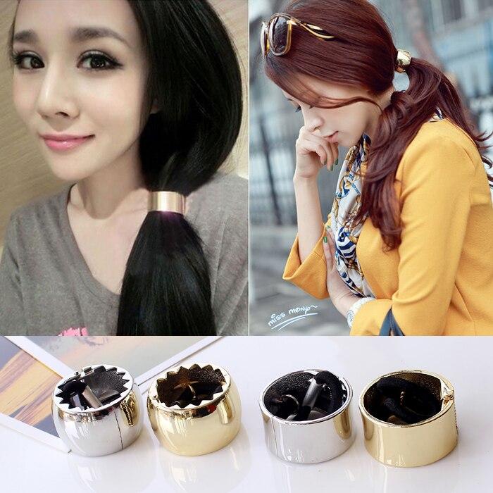 1PCS Fashion Cool Metal Circle Hair Cuff Band Tie Elestic Ponytail Holder Hair Accessories Headband Silver/Gold Free Shipping