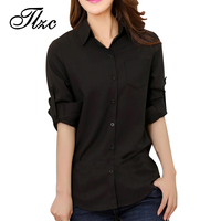 New Office Lady Fashion Career Blouse 2014 Summer OL Clothing Size S XL Elegant Women Black