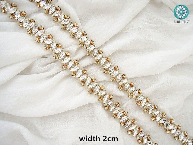 Robe de mariée perlée cristal avec strass   Fait à la main, en or et argent, couture de fer, pour robes de mariage, WDD0405, 1 cour
