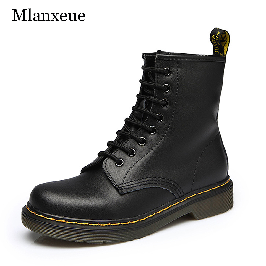 MLANXEUE New Women Genuine Leather Motorcycle Boots Winter Women Casual Keep Warm Ankle Boots Women's Fashion Retro Velvet Shoes camel winter women boots 2015 new shoes retro elegance sheepskin fashion casual ladies boots warm women s boots a53827612