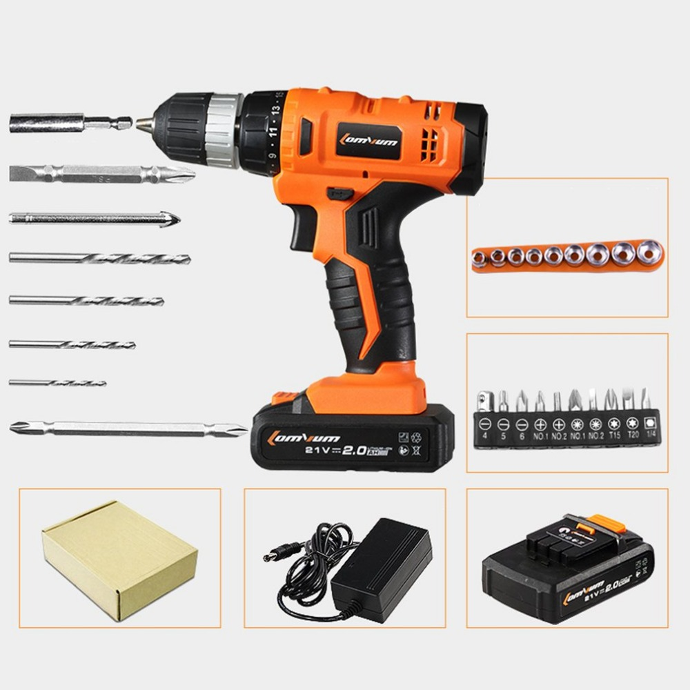 21V Professional Cordless Electric Drills Rechargeable Lithium Battery Electric Screwdriver Mini Drill Kit Screw Gun Set 45pcs drills 4 8v cordless rechargeable reversible electric screwdriver tool set electric screwdriver with plastic case