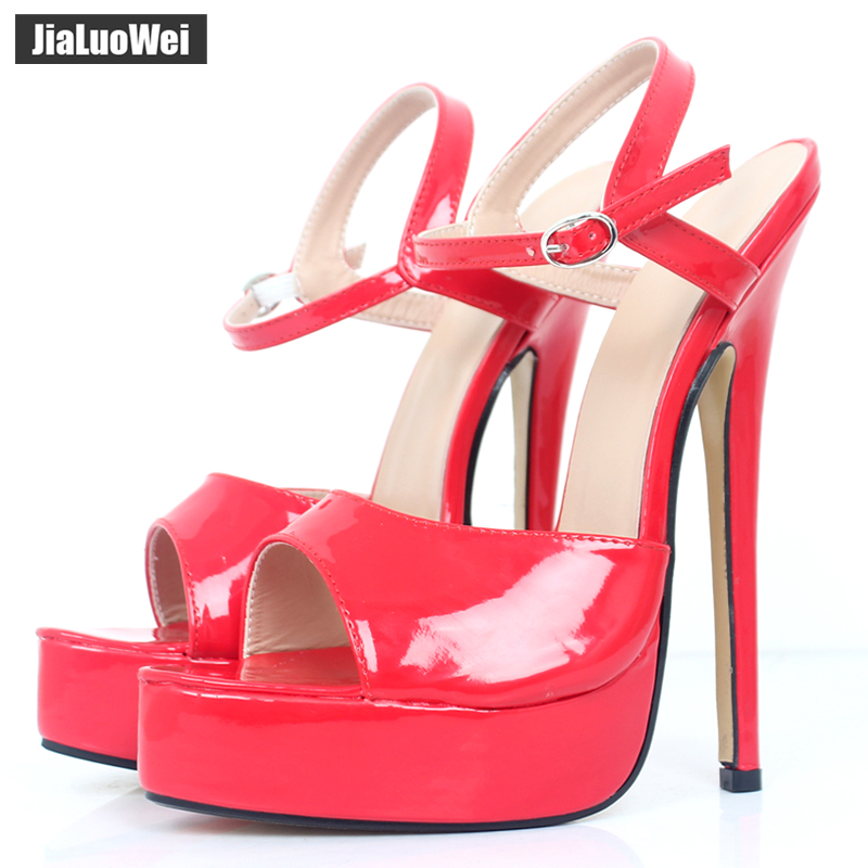 jialuowei 18cm High Heels Sandals Women Fetish Sexy Ankle Strap Summer Party Dress Shoes Woman Open Toe Platform Sandals Shoes crystal queen sexy women sandals high heels pearl rhinestone thin heel sandals woman flock open toe ankle strap party shoes page 4