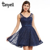 Tanpell Lace Homecoming Dress Dark Navy Appliques Sleeveless Mini A Line Gown Cheap Women V Neck