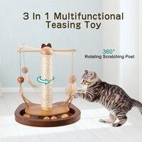 Креативная игрушка для кошек Многофункциональная игрушка для кошек вращающаяся на 360 ° штанга с перьями деревянные шарики Когтеточка #4