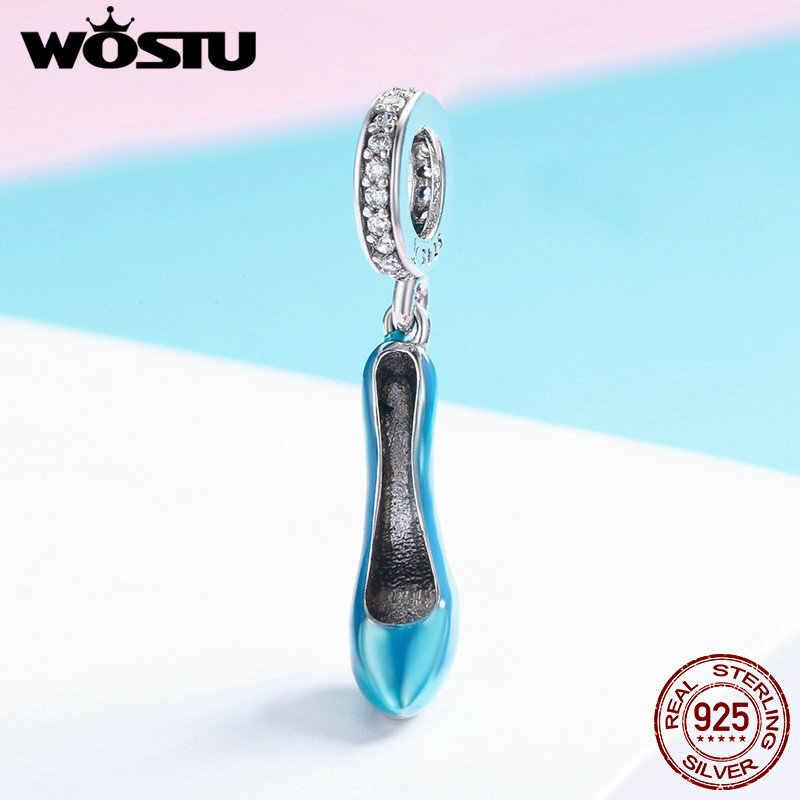 WOSTU リアル 925 スターリングシルバーブルーハイヒールビーズブラブラフィットオリジナルチャームブレスレットネックレス S925 DIY ジュエリーギフト CQC759