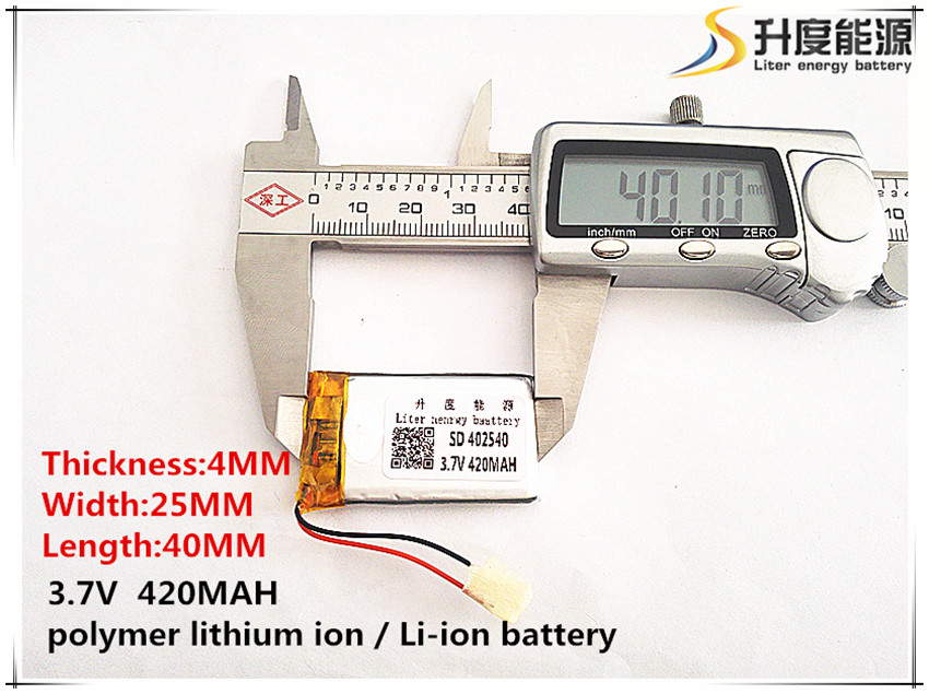 2pcs [SD] 3.7V,420mAH,[<font><b>402540</b></font>] Polymer lithium ion / Li-ion battery for TOY,POWER BANK,GPS,mp3,mp4,cell phone,speaker image