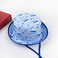 Fashion Baby Boy Girl Hats Kids Sun Hat Flat Print Sailboat Fisherman S Hat Baby Bucket