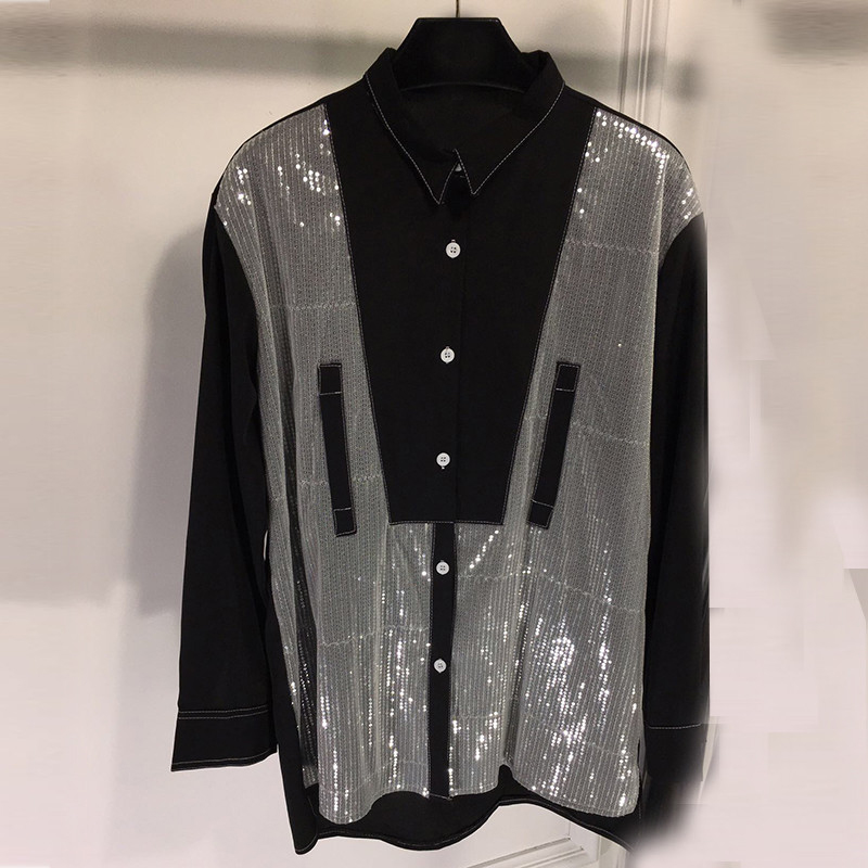 Blouses Patchwork à manches longues paillettes chemise femmes Designer décontracté femme bouton Blouse hauts