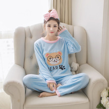 ФОТО coral fleece flannel pajamas female long sleeved lady thickened suit winter peach cartoon home furnishing wholesale