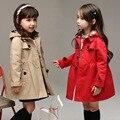 Venta caliente de la nueva del estilo largo abrigo trench con capucha trecnch para chicas 100-140 cm del artículo: xx-5263