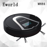 Eworld Robot Vacuum Cleaner Two Side Brushes LED Touch Screen HEPA Filter Schedule Remote Control Virtual