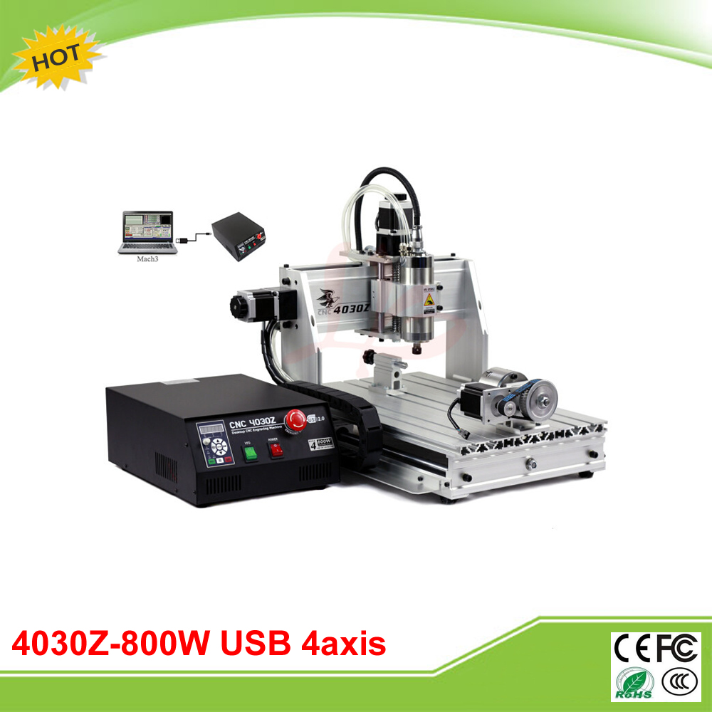 New 4030Z-800W/USB 4 axis mini CNC router with USB port and rotation axis free tax to RU free shipping 800w 4 axis cnc engraver engraving machine cnc 4030z with usb port 3040