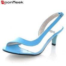 Moonmeek/Большой размер 34-46 пикантные женские сандалии с открытым носком слинбэки Обувь на высоком каблуке женские летние вечерние свадебные туфли простые женские