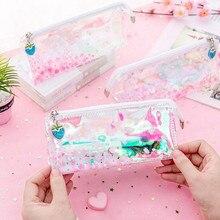 Transparent Waterproof Cosmetic Bag Women Cherry Blossoms Make Up Travel Storage Multifunction Zipper Bathing Makeup Wash Bag