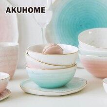 3 Colors European Style Gold Rim Spot Ceramic Bowl Rice Soup Bowl Mixing Bowl