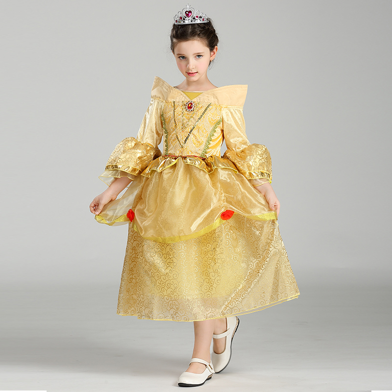 Retail Beauty And Beast Cosplay Dresses For Girls Belle Princess Kids Girl Costumes Christmas Halloween Costumes SMR005 аксессуары для косплея random beauty cosplay