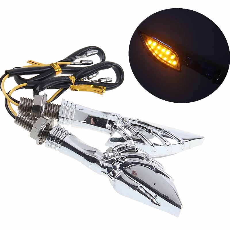 POSSBAY Universal Motorcycle Turn Signal Light Amber Moto Indicator Lights Blinker Flasher For Harley Honda Suzuki Cafe Racer