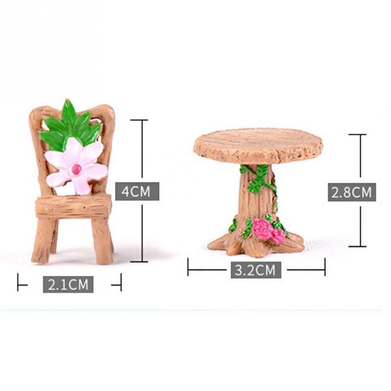 3Pcs/Set Floral Table Chairs Miniature Landscape Fairy Garden Dollhouse Decoration Moss Micro Landscape Succulent Plant Ornament