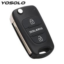 รีโมทคอนโทรล3ปุ่มพลิกพับคีย์เปล่ารถ จัดแต่งทรงผมเปลี่ยนกุญแจรถKey Fobกรณีอุปกรณ์เสริมสำหรับhyundai Solaris