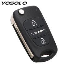 Llave ciega plegable con tapa de 3 botones para mando a distancia carcasa de llave de coche, accesorios de coche para Hyundai Solaris