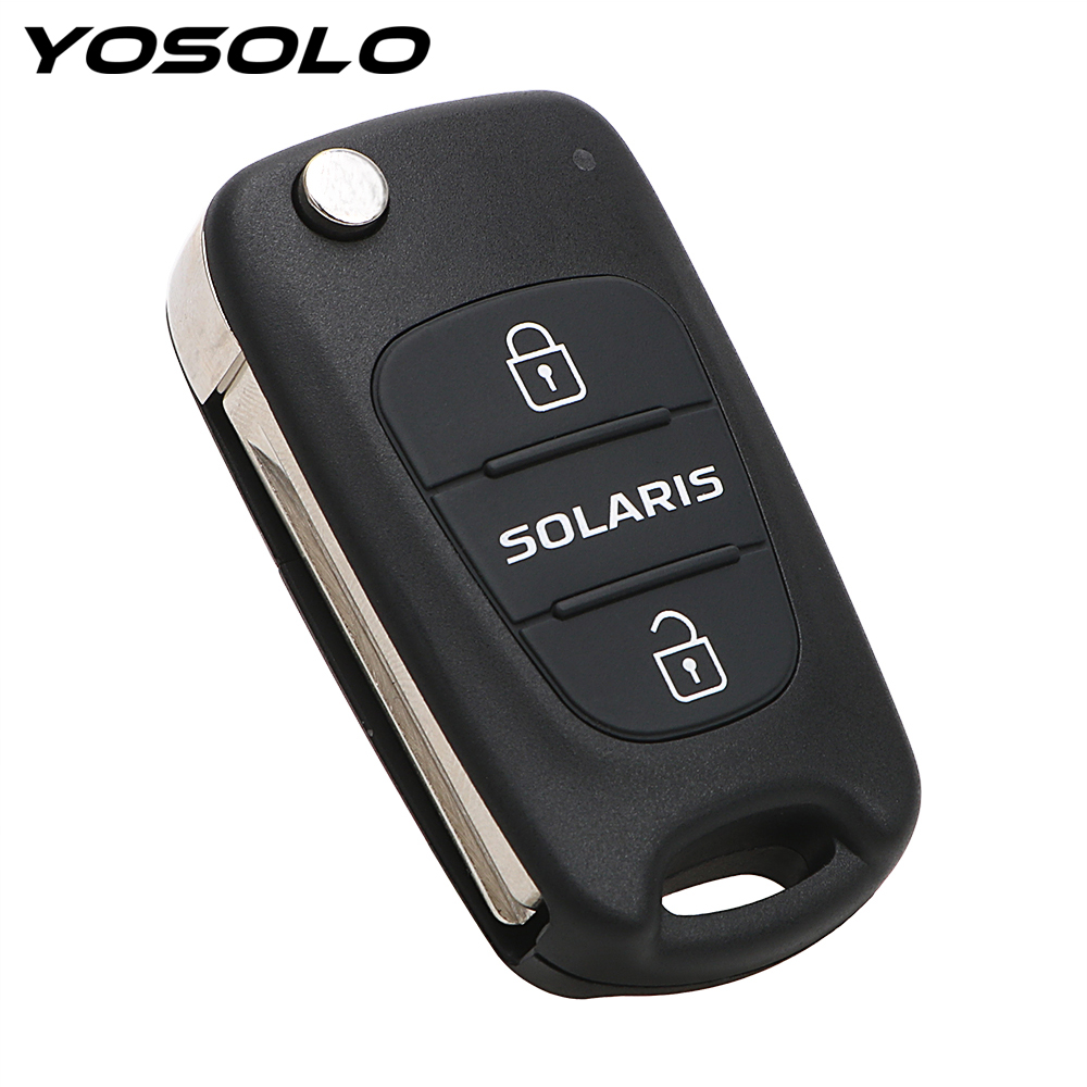 Remote 3 Buttons Flip Folding Blank Key Car styling Replacement Car Key Shell Key Fob Case Car Accessories For Hyundai Solaris|Key Case for Car| |  - title=