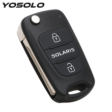Remote 3 Buttons Flip Folding Blank Key Car styling Replacement Car Key Shell Key Fob Case Car Accessories For Hyundai Solaris