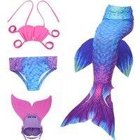 Kids Girls Mermaid Tails For Swimming Cosplay Costume With Monofin Mermaid Bikini Swimsuit And Flipper For Girls