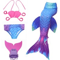 Kids Girls Mermaid Tails For Swimming Cosplay Costume With Monofin Mermaid Bikini Swimsuit And Flipper For