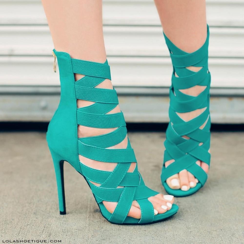 Turquoise Gladiator Heels