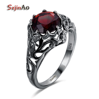 Szjinao Top Quality Women Retro 100 925 Silver Ring Red Crystal Black Gold Filled Cocktail Party