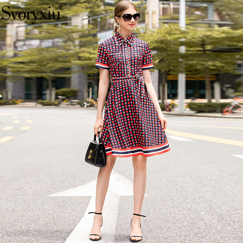 Svoryxiu Designer été robe Vintage femmes mode à manches courtes à pois fleur imprimé genou longueur robes Vestdios-in Robes from Mode Femme et Accessoires    1