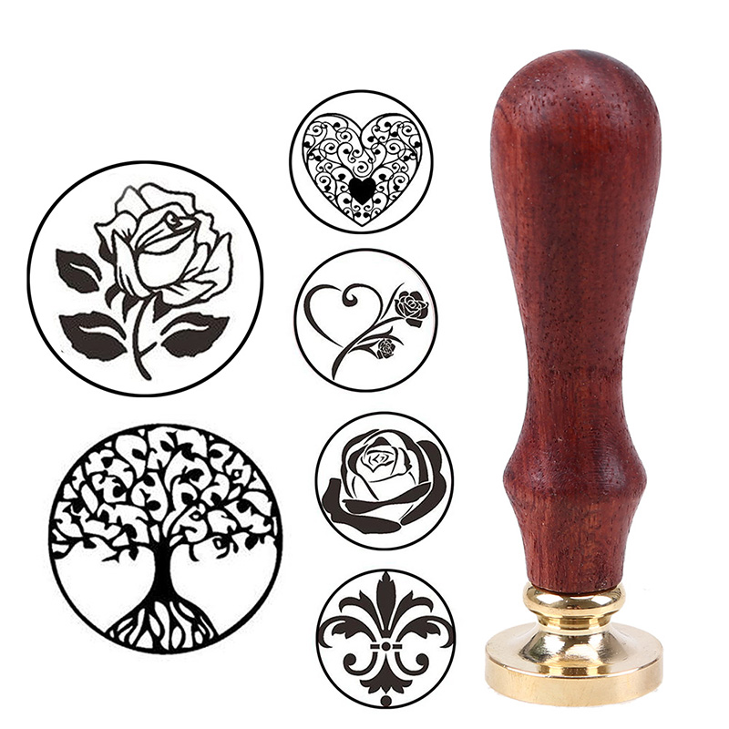 DIY Brass Head Rose Tree Wax Seal Stamp With Wood Handle Ancient Seal Retro Stamp Wedding Invitation Card Antique Stamp Gifts 1x wax seal stamp retro wood classic sealing wax seal stamp decorative rose tree of life wedding invitation antique stamp