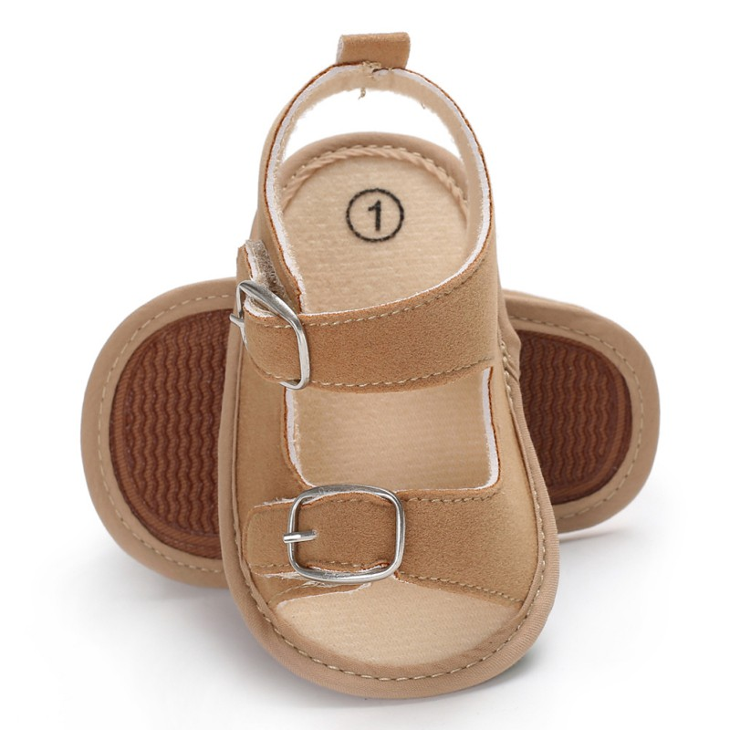 Stylish Baby Boys Girls Sandals Toddler Solid Color Slip-On Shoes Summer Baby PU Leather Sandals 0-18Months