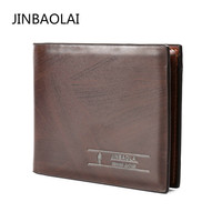 JINBAOLAI Short Men Wallets Business Leather Wallet Brand Carteira Masculina Casual Small Slim Wallet Card Holder Coffee Cartera