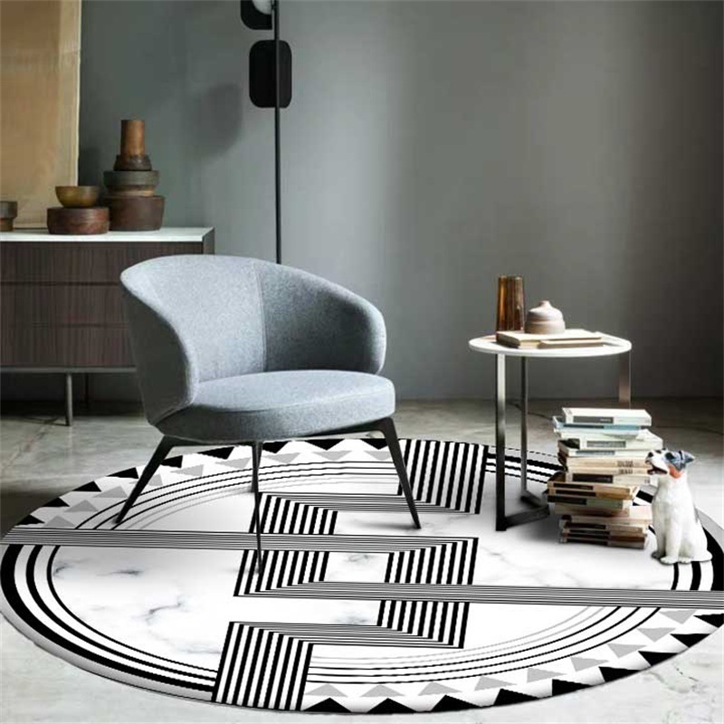 Modern 3D Simple Brief Round Rugs Marble Texture White Black Geometric Pattern Carpets For Home Living Room Kithchen Floor Mat