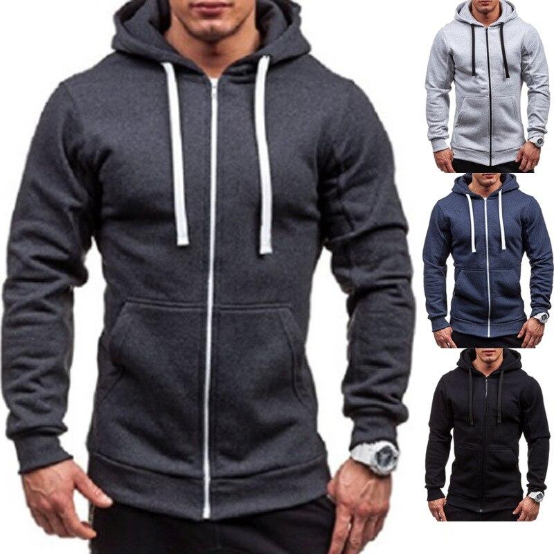 Men's Hoodies Tracksuit 2018 Winter Fleece Drawstring Pocket Hooded Sweatshirt Long Sleeve Zip Slim Coat Male Jacket Plus Size