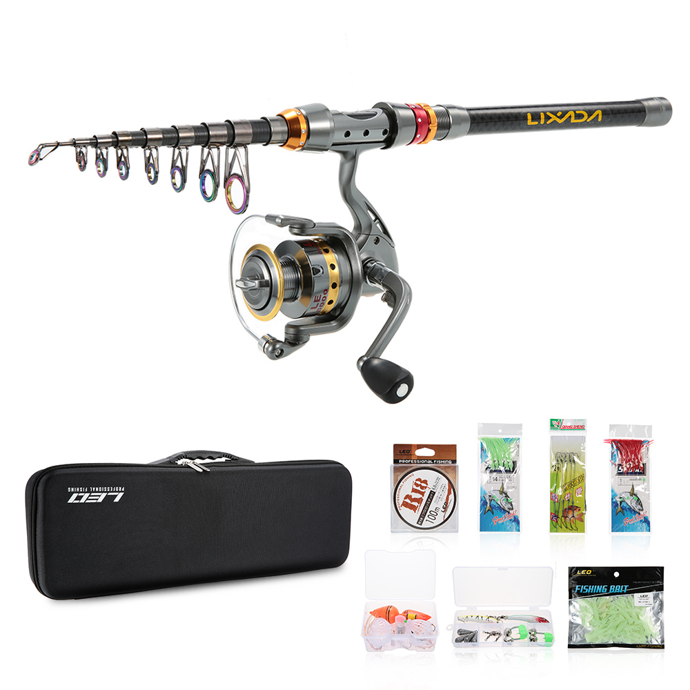 Lixada Fishing Combo Full Kit Spinning Fishing Reel Gear Pole Set Telescopic Fishing Rod Reel with