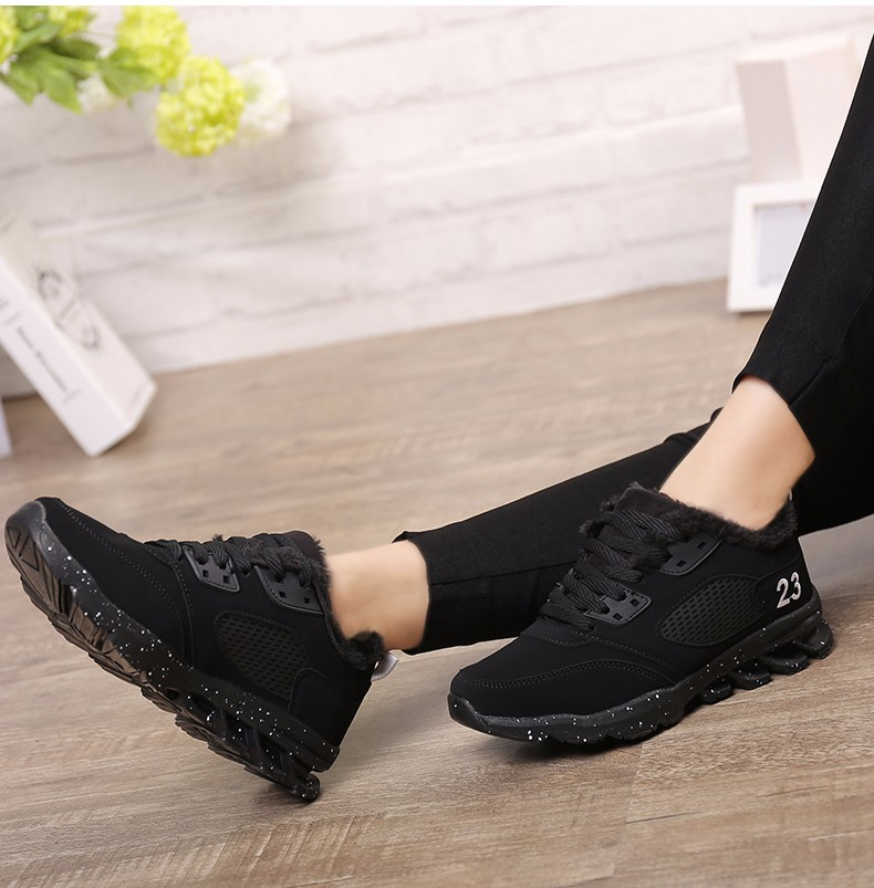 2017 Fashion Winter Women Casual Shoes Plush Warm Sport Low Top Women Shoes Black Pink Breathable Lace Up Woman Trainers YD165 (18)