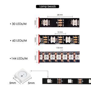 Image 3 - WS2812B DC 5V LED bande RGB 50CM 1M 2M 3M 4M 5M 30/60/144 LED s Smart adressable Pixel noir blanc PCB WS2812 IC 17Key Bar
