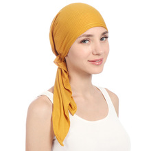Muslim Women Stretch Solid Wrinkle Turban Hat Cancer Chemo Beanies Caps Pre Tied Scarf Headwear Headwrap Plated Hair Accessories