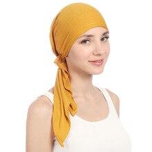 Muslimische Frauen Stretch Feste Falten Turban Hut Krebs Chemo Beanies Caps Pre Gebunden Schal Headwear Headwrap Überzogene Haar Zubehör