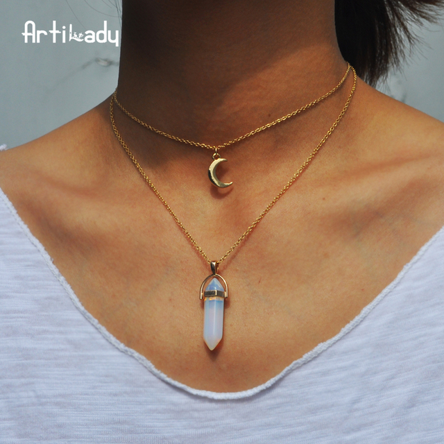Artilady natural opal stone moon choker necklace fashion gold color artilady natural opal stone moon choker necklace fashion gold color stone stone crystal pendant necklace for aloadofball Images