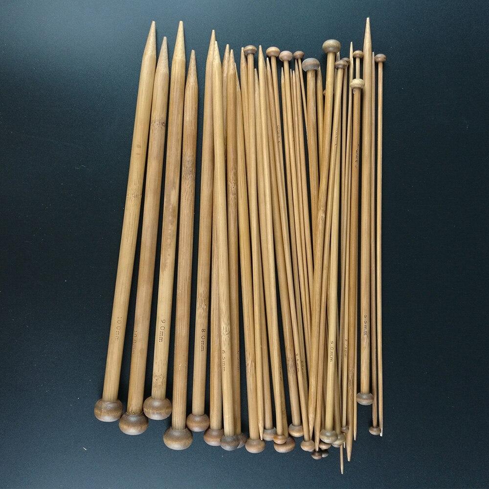 36 Pcs set 25 cm Carbonized Bamboo Knitting Needles Set Tunggal Menunjuk Halus Crochet Jarum Tenun