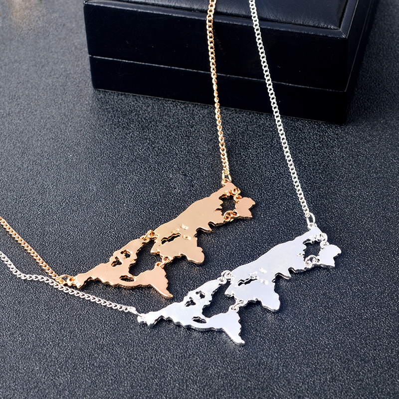 Globe world map pendant long necklaces gold silver black simple globe world map pendant long necklaces gold silver black simple charm creative earth jewelry gift for teacher student lovers in pendant necklaces from gumiabroncs Image collections